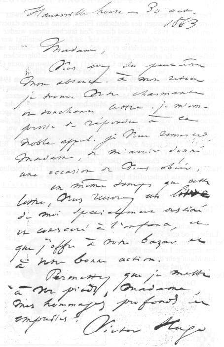 Handwritten letter by Victor Hugo