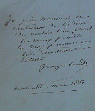 Handwritten letter of George Sand